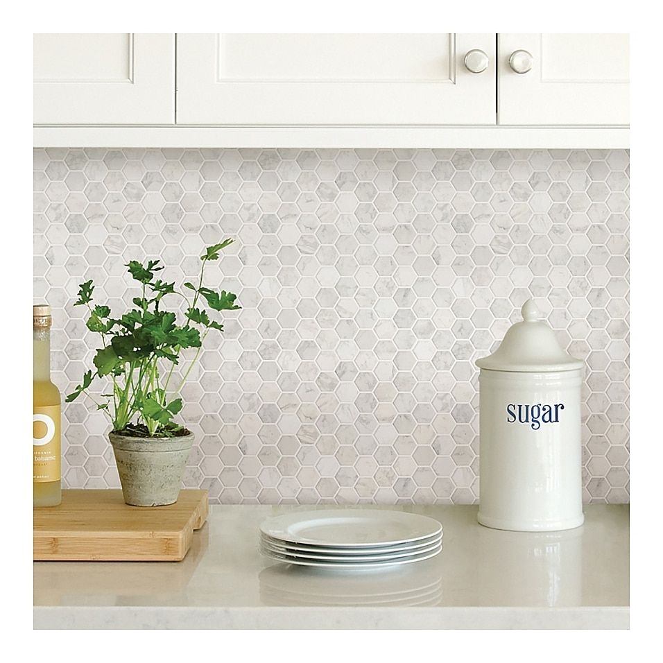 Hexagon Marble Peel And Stick Backsplash Tiles In White Peel Stick Backsplash Tile Backsplash Kitchen Backsplash Designs