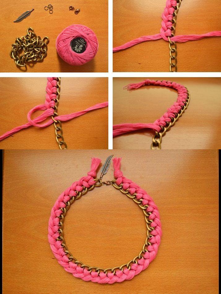 58585f198a83 Collar DIY TUTORIAL collar de hilo trenzado y cadena de eslabones   accesorios