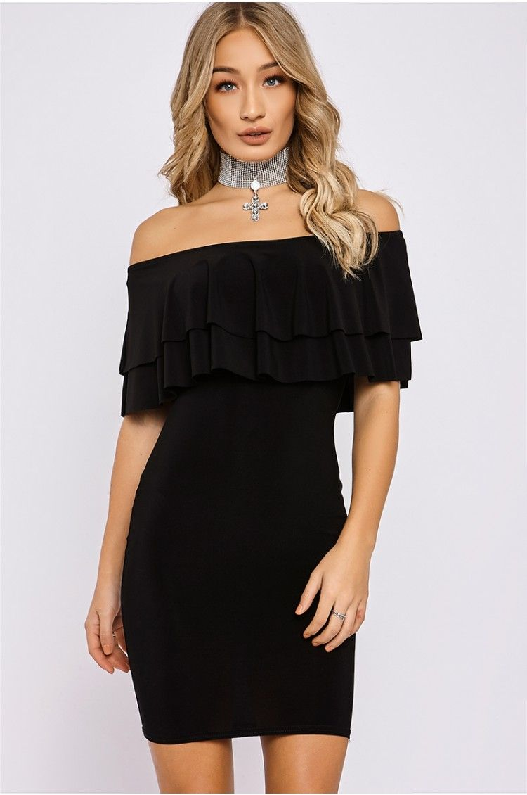 Length black bardot frill detail bodycon dress outlet dogs them from
