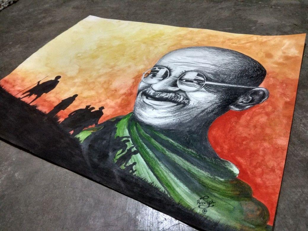 Mahatma Gandhi Spiritual Photo Poster Painting Real Canvas Giclee Art Print