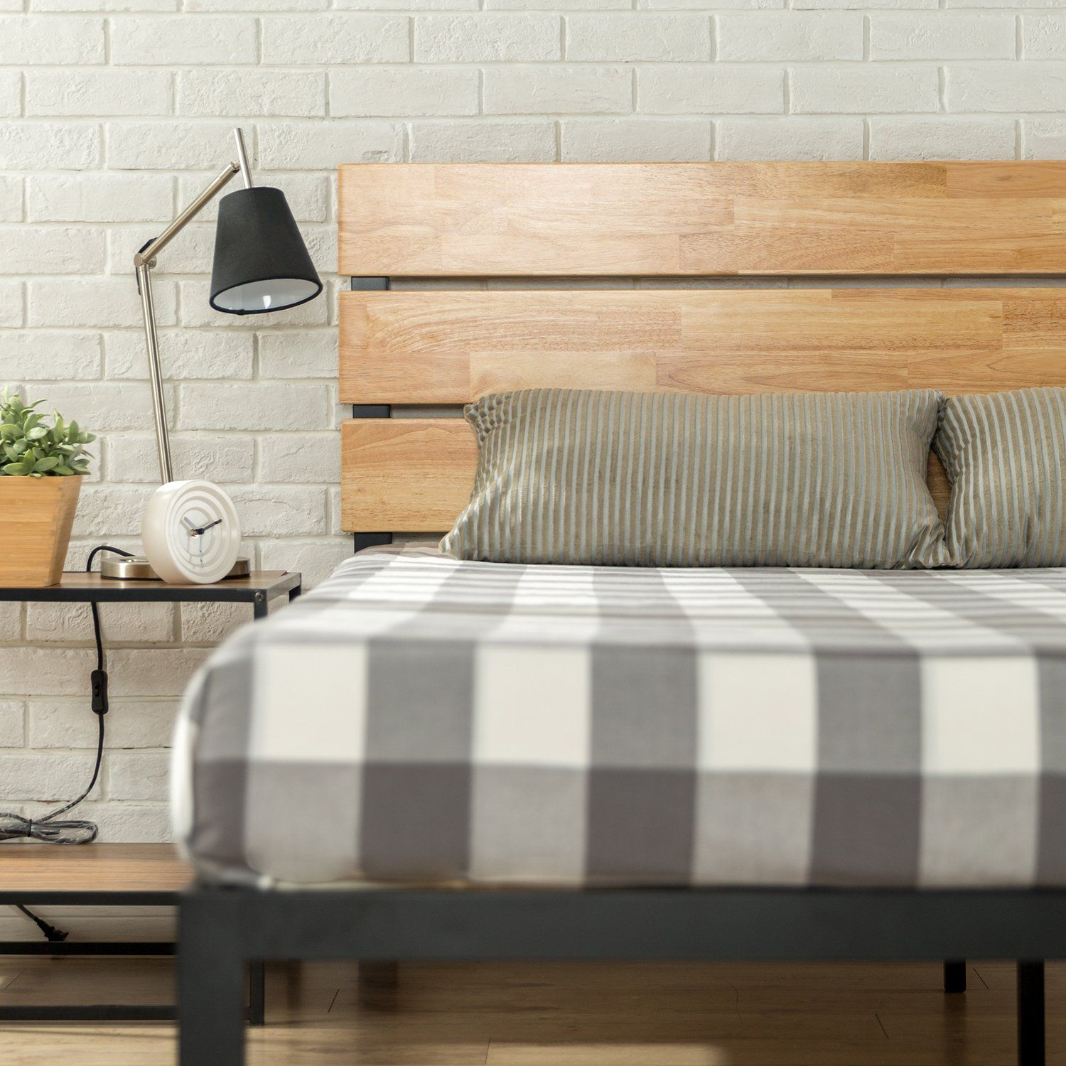 Zinus Sonoma Metal And Wood Platform Bed With Wood Slat Support