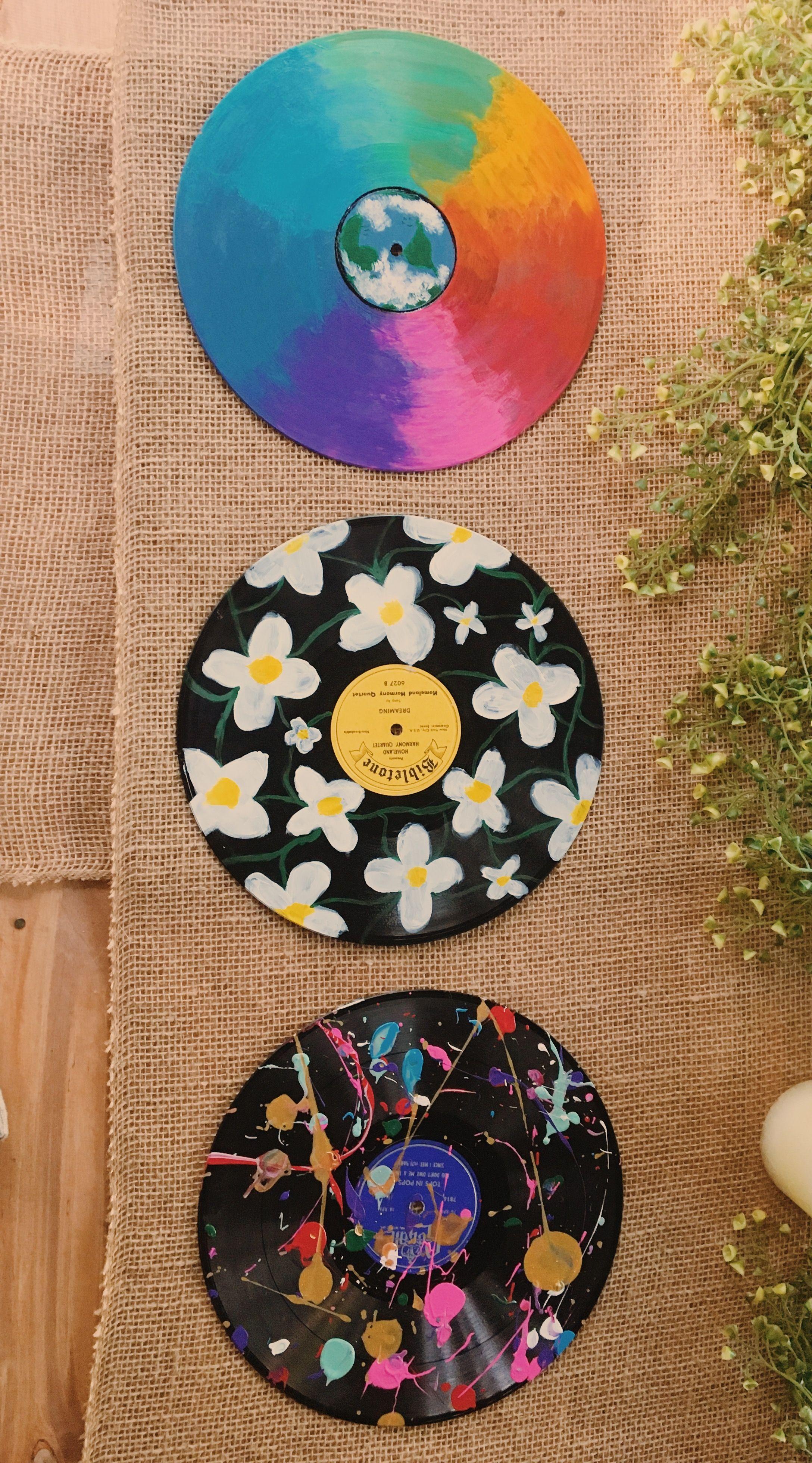 Painted Records Vinyl Record Art Vinyl Art Paint Art Diy