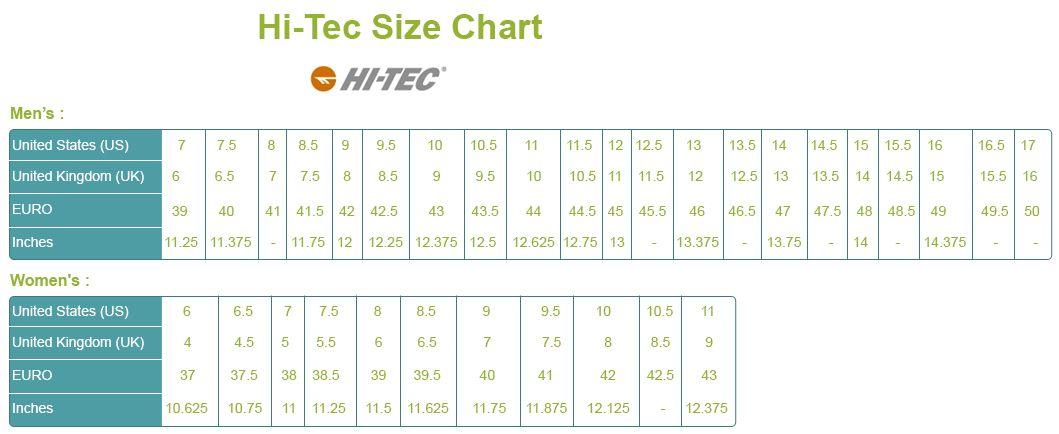 Hi Tec Shoe Size Chart Brands Shoe Size Chart Size Chart Chart