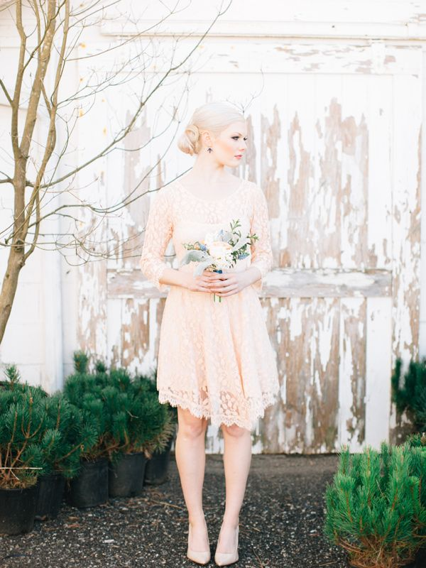 Peach lace bridesmaid dress. Ruffled – photo by http://www.loragradyphotography.com/ – http://ruffledblog.com/georgia-peach-wedding-inspiration/