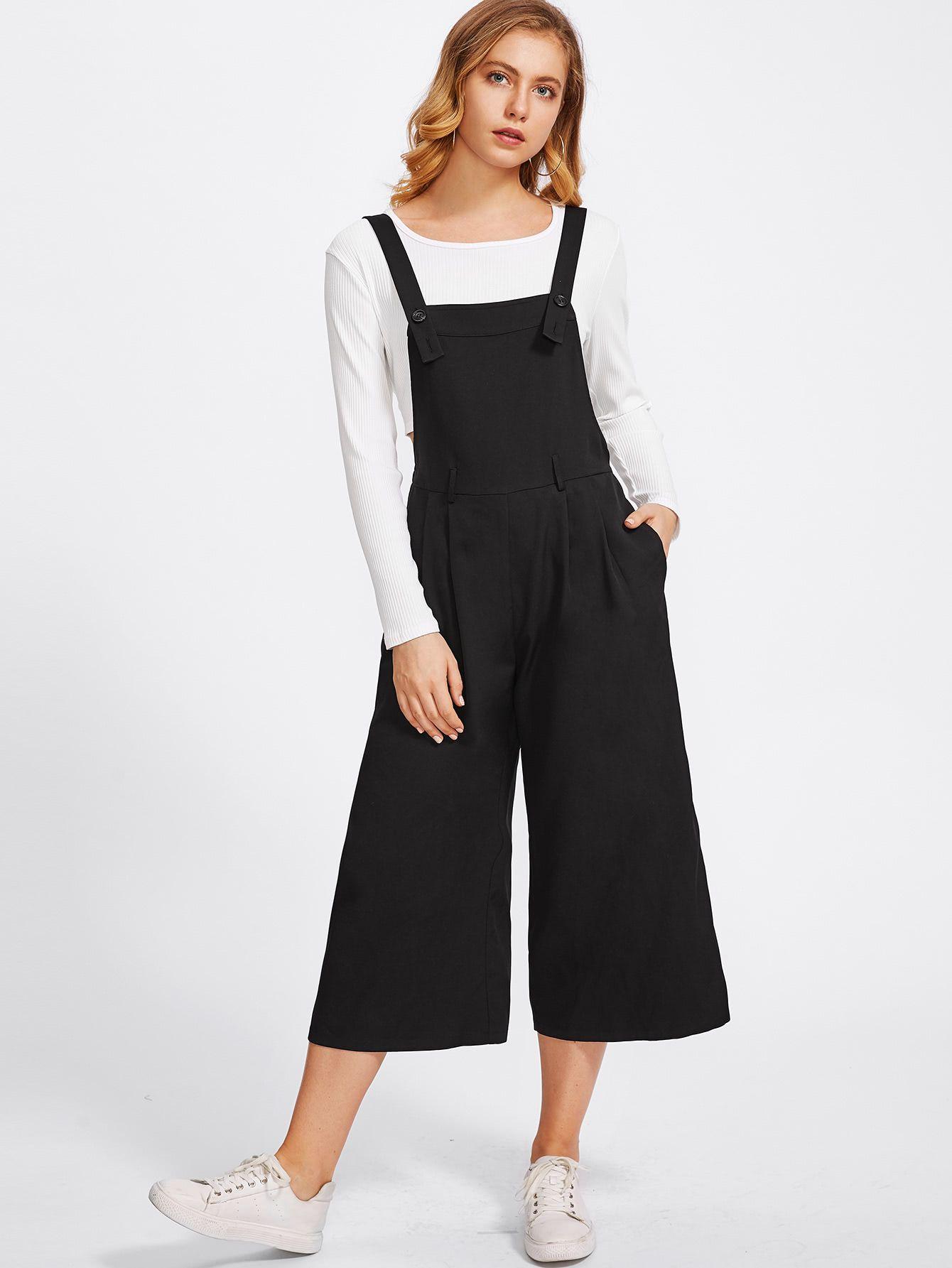 Shop Buttoned Strap Elastic Waist Culotte Jumpsuit online. SheIn ...