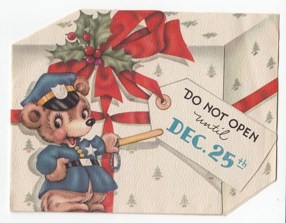 Vintage Greeting Card Christmas Bear Policeman Police Officer Die ...