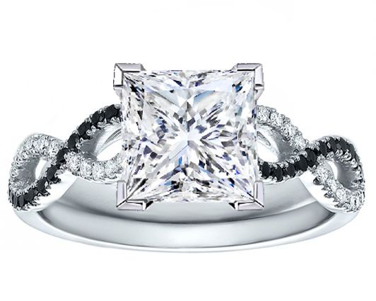 Princess Diamond Engagement Black White Infinity Ring In White