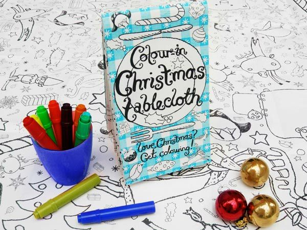christmas color in tablecloth full of wonderful festive detail to provide hours of colouring in fun for up to 4 children great for a childrens table