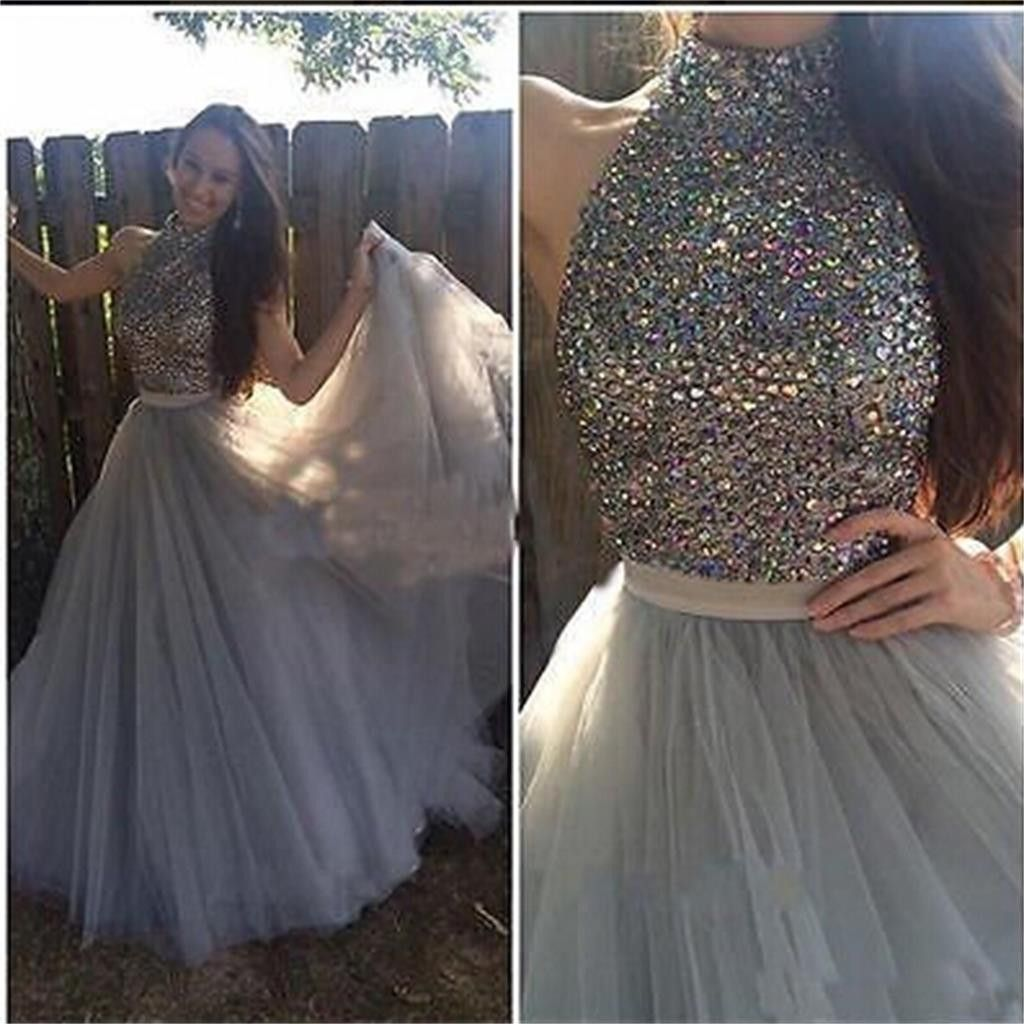 High neck tulle sparkle custom make party cocktail evening long prom