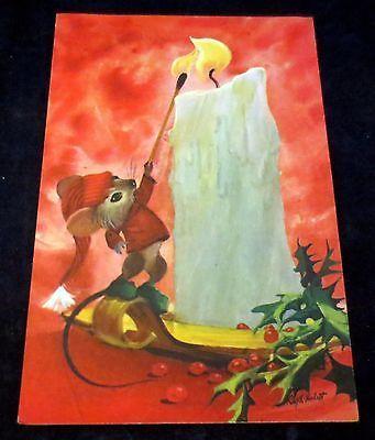 Vintage Greeting Christmas Card Mouse Lighting Candle Disney Artist
