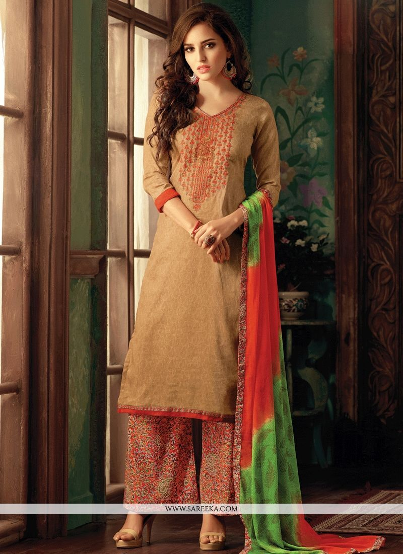60efb713b42 Get perfectly customize salwar kameez at affordable prices. Customize & order  online this cotton embroidered and print work designer palazzo suit. -
