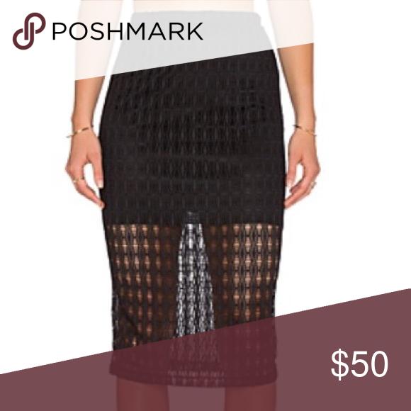 9d3966b8f7 WAYF high waisted crochet pencil skirt High waisted with elastic band. Black  crochet fabric with semi sheer bottom. Revolve Skirts Pencil