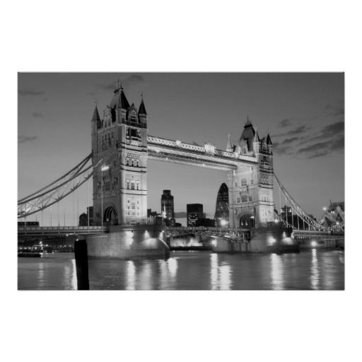 Black white london tower bridge poster created by made in atlantis