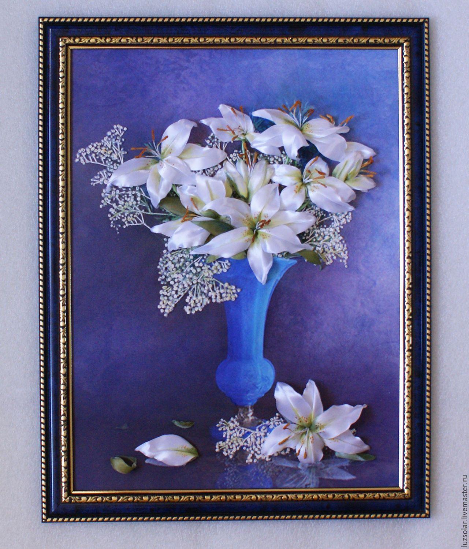 Купить Картина лентами Лилии в синей вазе 35 х45 см ...