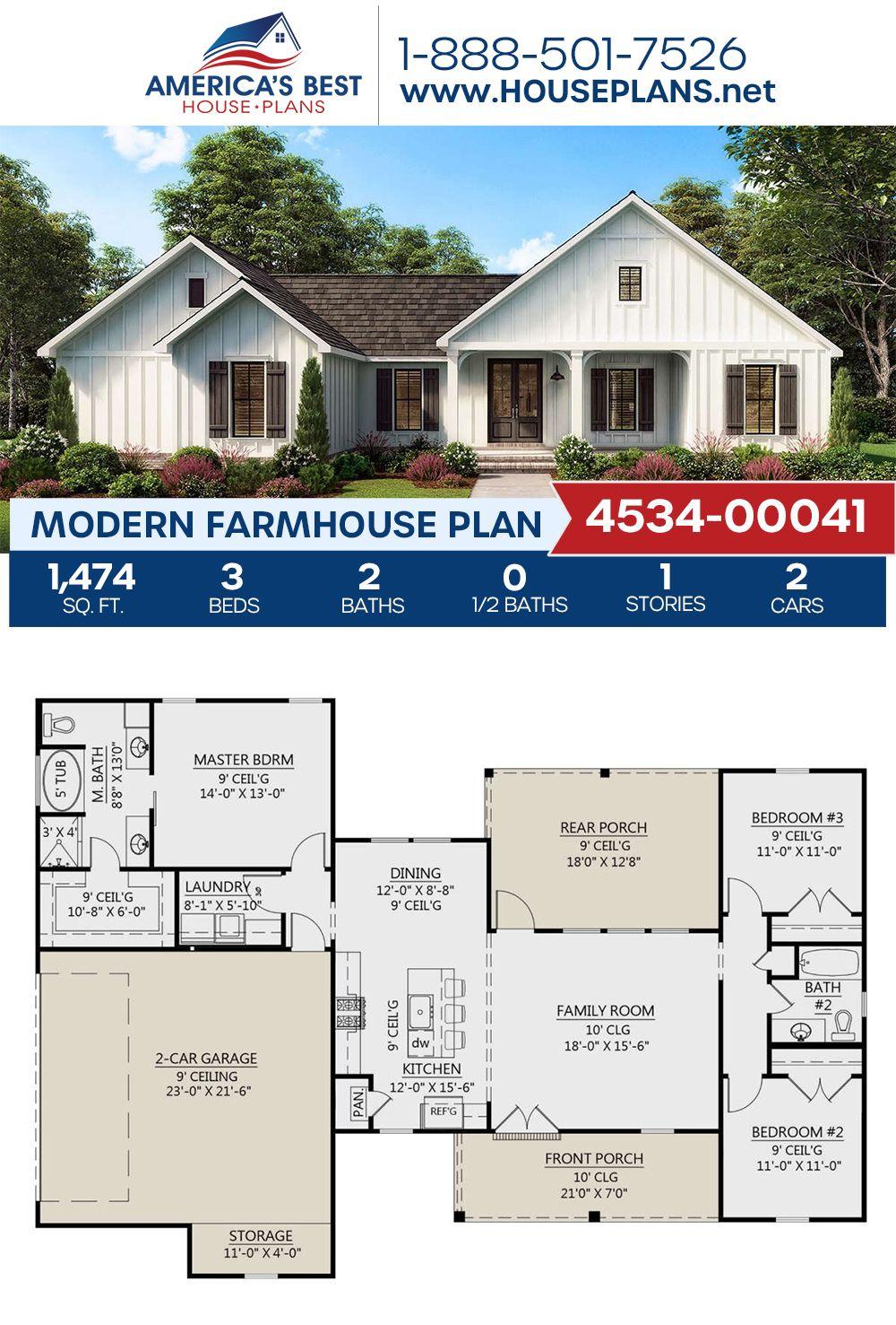 House Plan 4534 00041 Modern Farmhouse Plan 1 474 Square Feet 3 Bedrooms 2 Bathrooms Modern Farmhouse Plans Affordable House Plans Farmhouse Plans