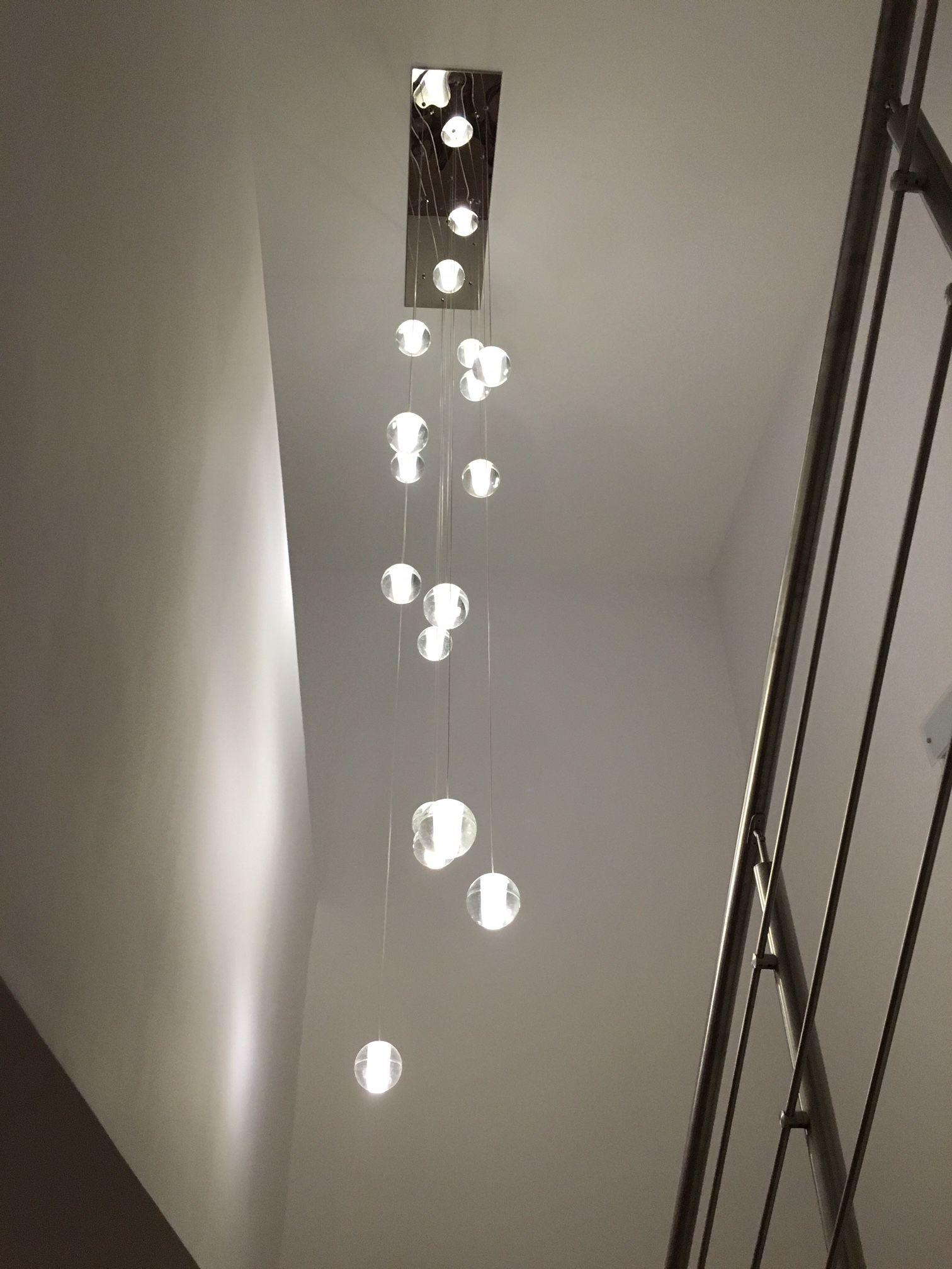 Orion 16 Light Rectangular Floating Glass Globe LED Chandelier