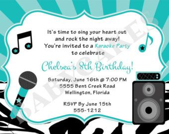 Karaoke Party Invitation Girl Karaoka Birthday Rockstar Party Invitation Hot Pink Zebra Print Printable Digi Karaoke Party Birthday Invitations Diy Karaoke