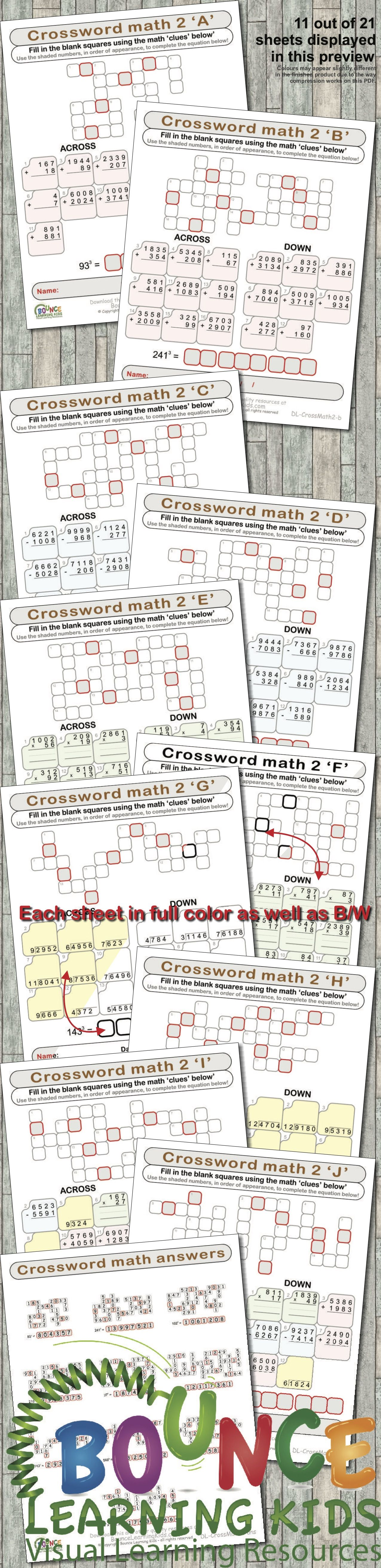 Math Crosswords 2 34 Distance Learning Crosswords With