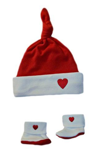 Red & White Heart Knotted Baby Hat & Booties (Small Newborn 5-8 Pounds) Adorable! Very Soft! Perfect for Valentine's Day!. 100% Soft Cotton Knit - Sized for the Smallest of Infants. Flat Rate Shipping - Made in the USA.  #Jacqui's_Preemie_Pride #Apparel