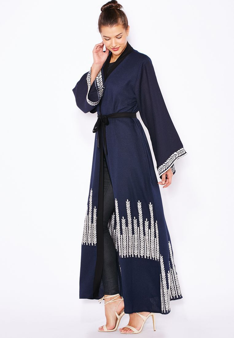 Shop Hayas closet navy Embroidered Detailed Abaya for Women in UAE