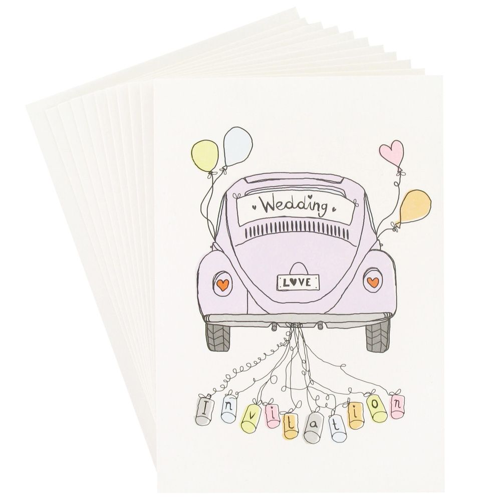 Beetle Wedding Car Invitations Pack Of 10 This Is The