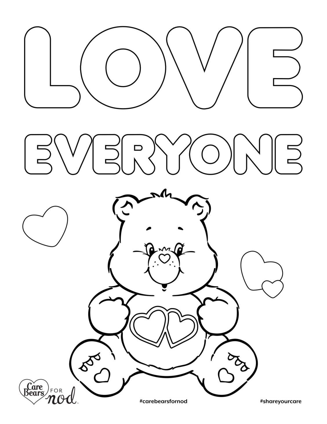 Share Your Care Day! Printable Care Bears Coloring Pages
