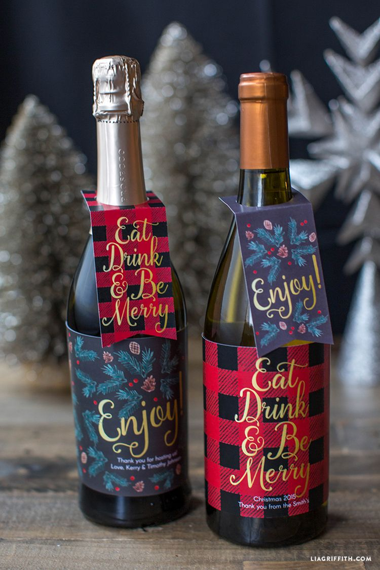 Wine Gifts For Christmas Part - 39: Free Printable Christmas Wine Bottle Labels And Gift Tags. You Can Type In  And Edit