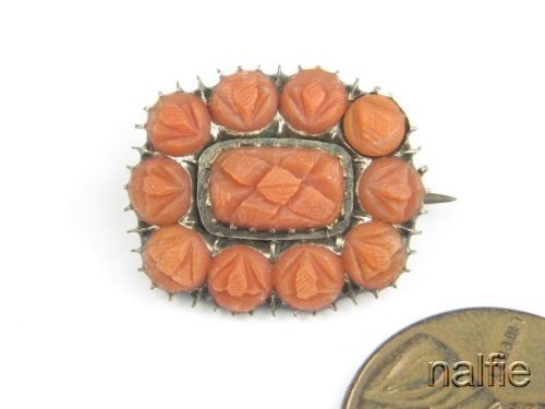 ENGLISH GOLD CARVED CORAL BROOCH c1820 | eBay