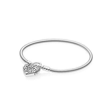 d3fbbf919 Pandora Smooth Silver Padlock Bracelet Size 19 - 597602-19, Metal Type
