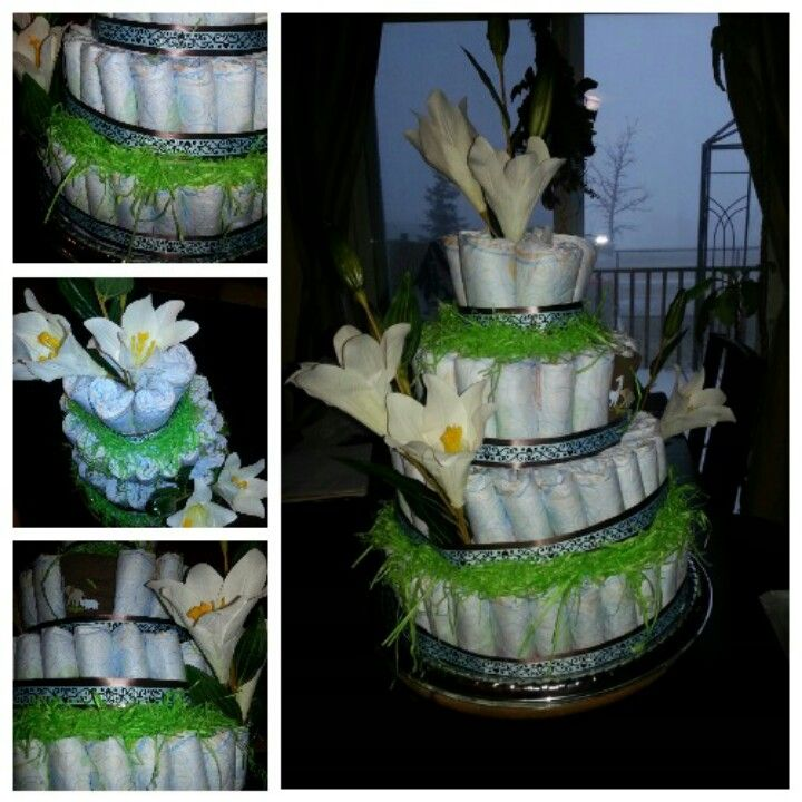 Floral arrangements.. Lily theme. One package of size 3diapers 4tiers