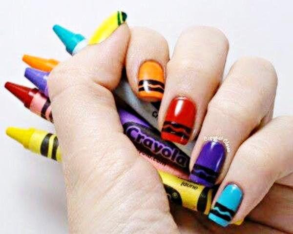 Crayon Nails Backtoschool Nails Pinterest