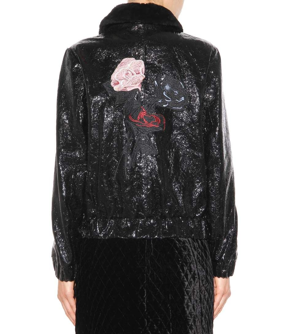 Scott black embroidered leather jacket