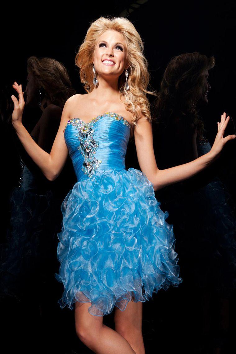 Blue short sweetheart organza zipper ball gown homecoming dress