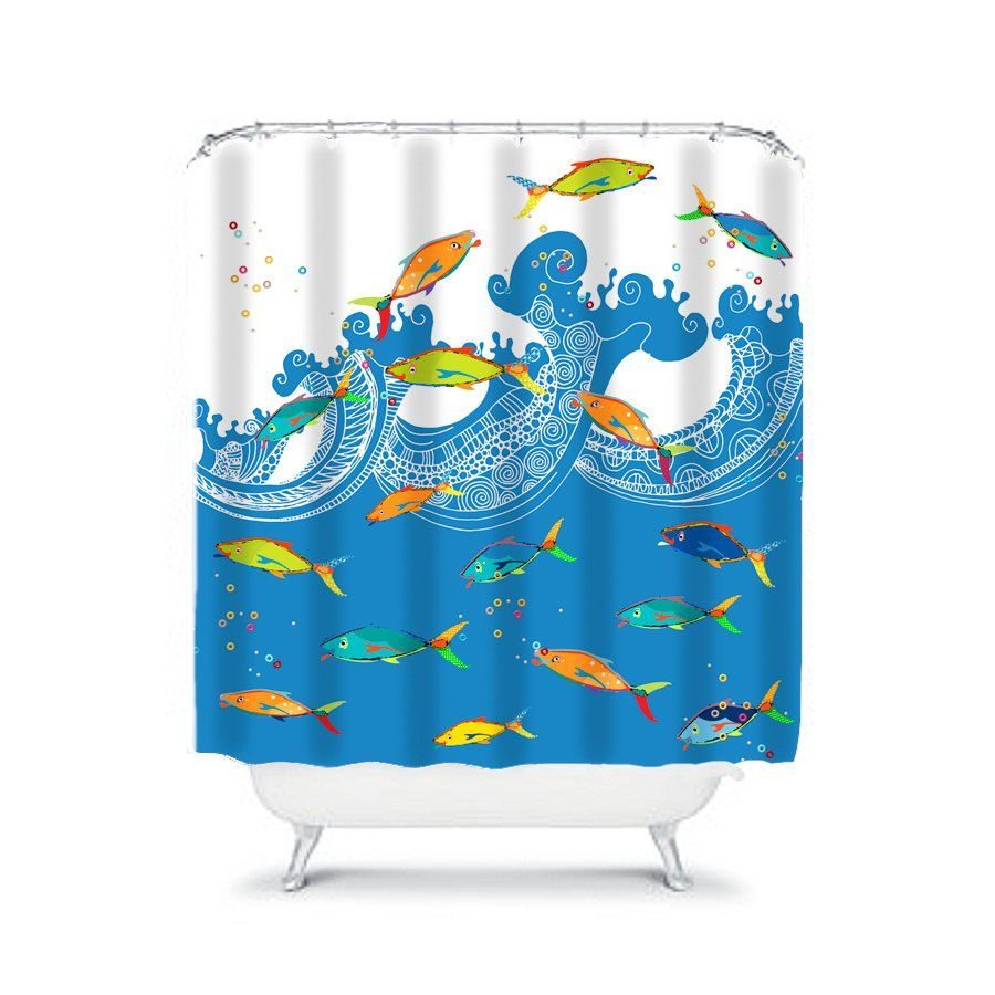 Colorful Fish Beach Bathroom Extra Long Shower Curtain For Kids