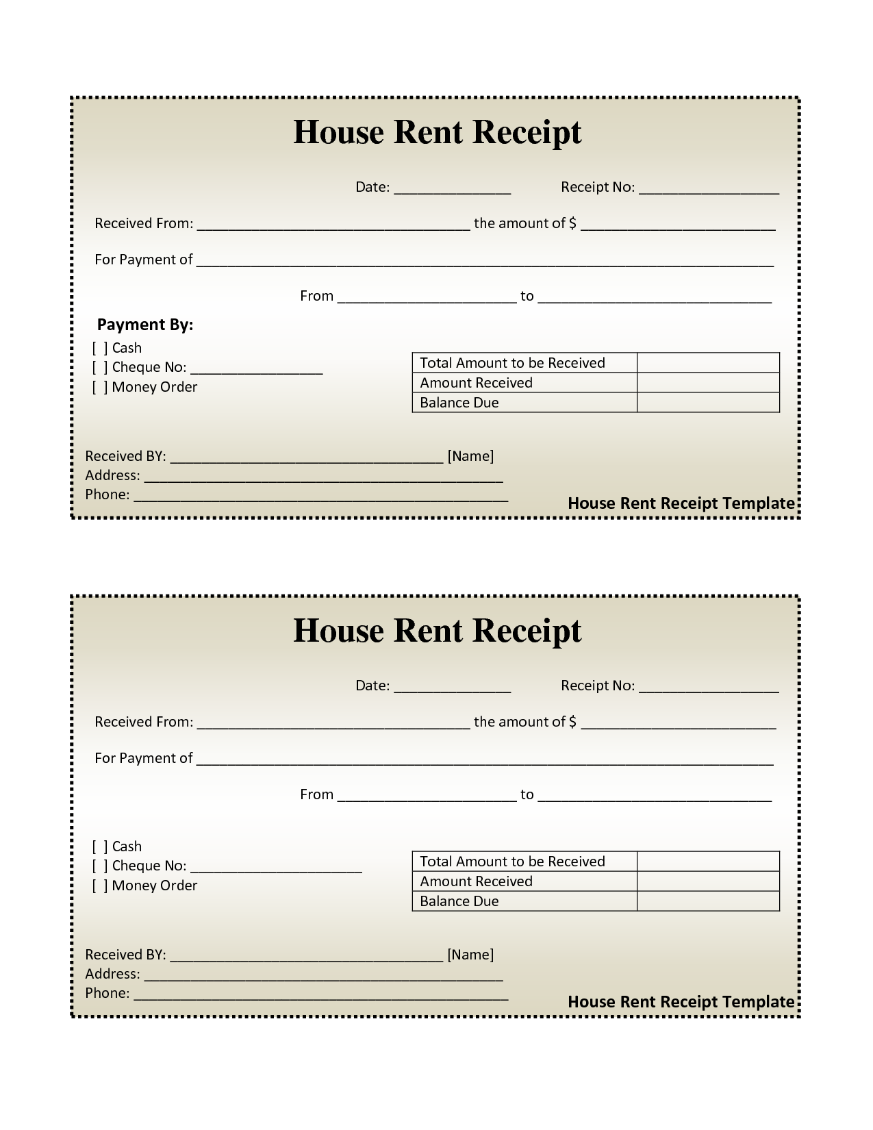 free house rental invoice – House Rent Receipt Template