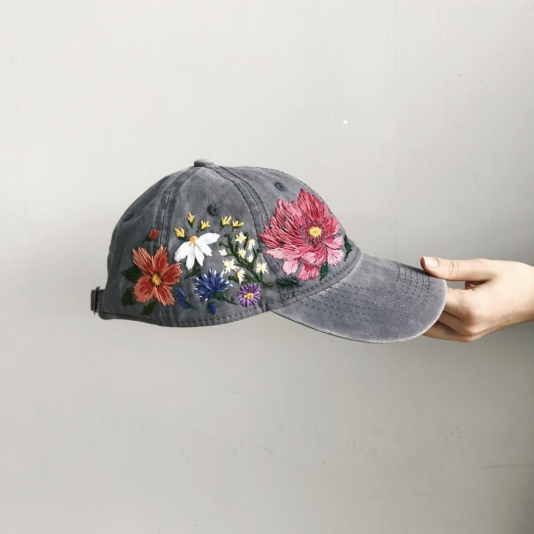 Hand Embroidered Hat Flower Embroidery Continues To Be In Trend Be Unique With Us Embroidery Patterns Vintage Hand Embroidered Hat Custom Embroidered Hats