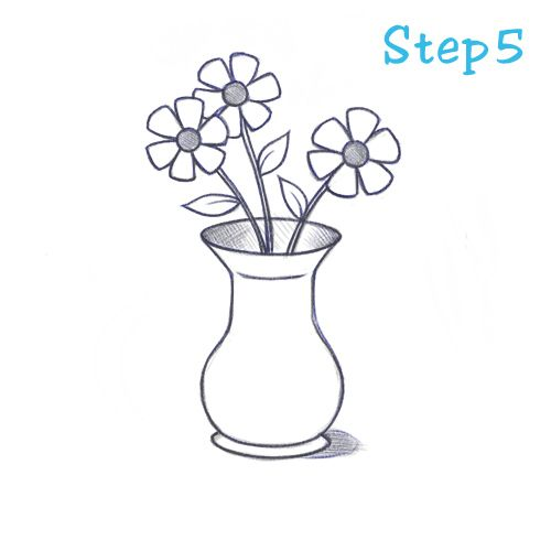 How To Draw Vase 5 Flower Vase Drawing Flower Drawing Tutorials Flower Drawing