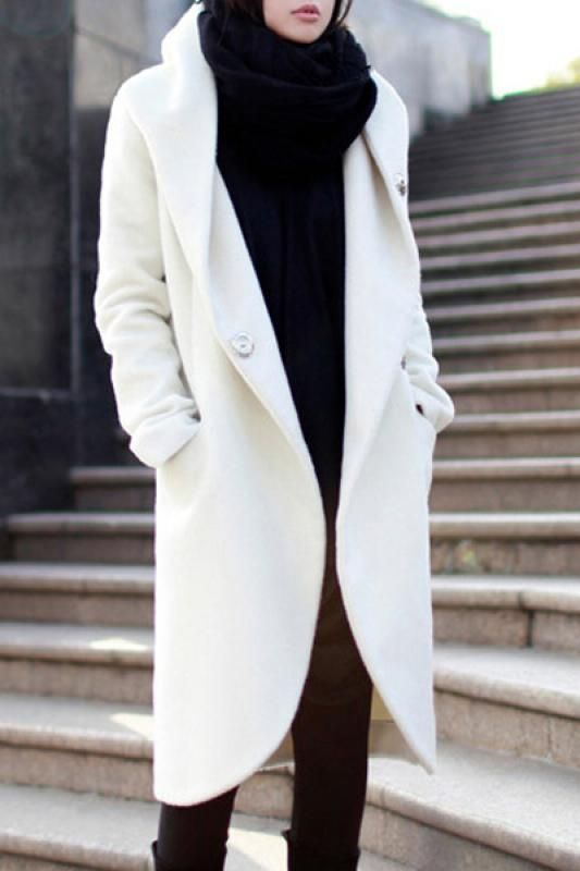 Winter minimalist outfit. Love the white coat, but I can't ...