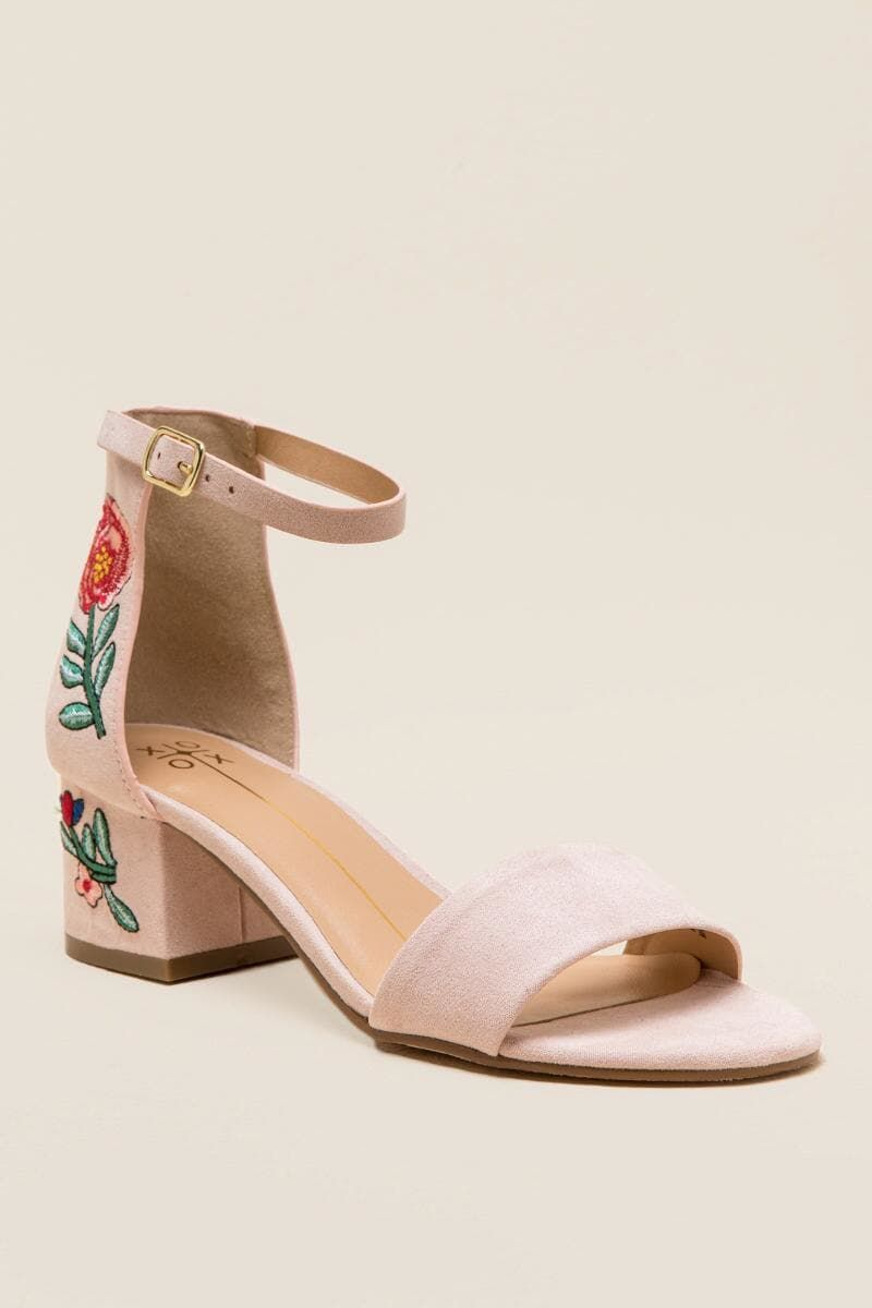 568680e06fe Blush XOXO Henry Embroidered Low Block Heel
