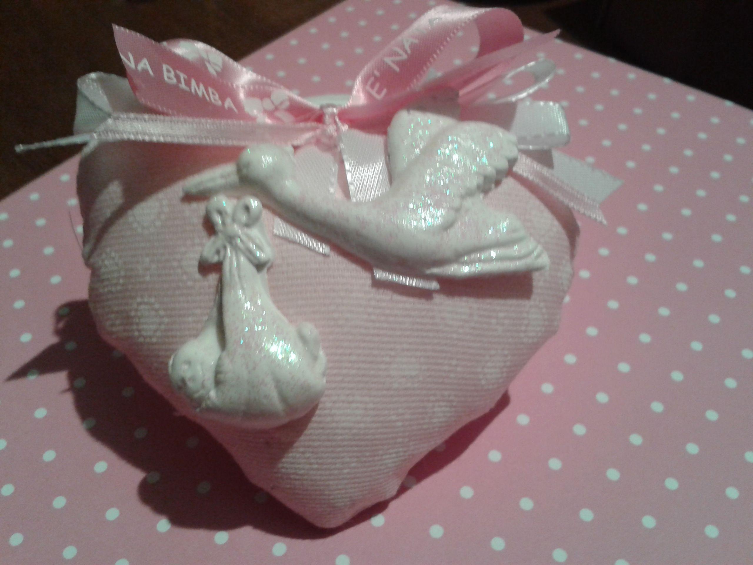 Cuoricino per nascita personalizzabile!! Handmade- by IlCassettodeiSogni