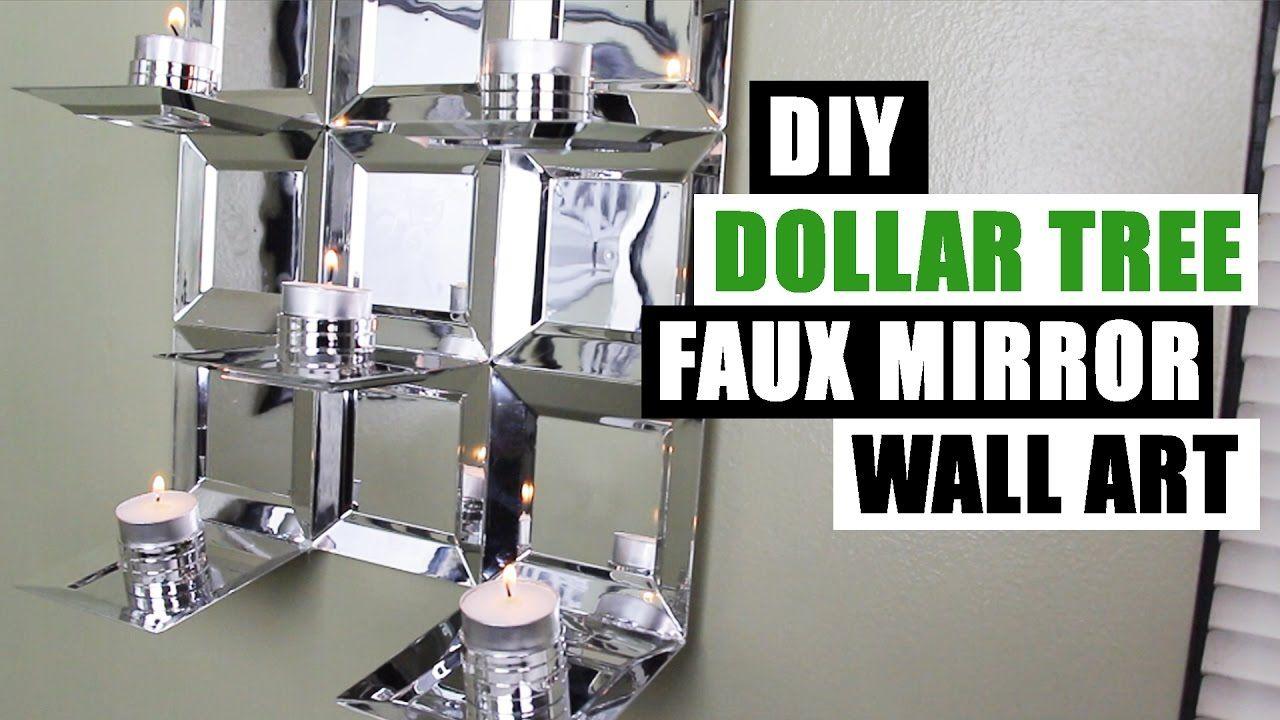 Diy dollar tree glam faux mirror wall art candle holder easy z