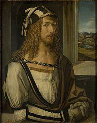 Albrecht Dürer (Selbstbildnis mit Landschaft 1498, Museo Nacional del Prado, Madrid)