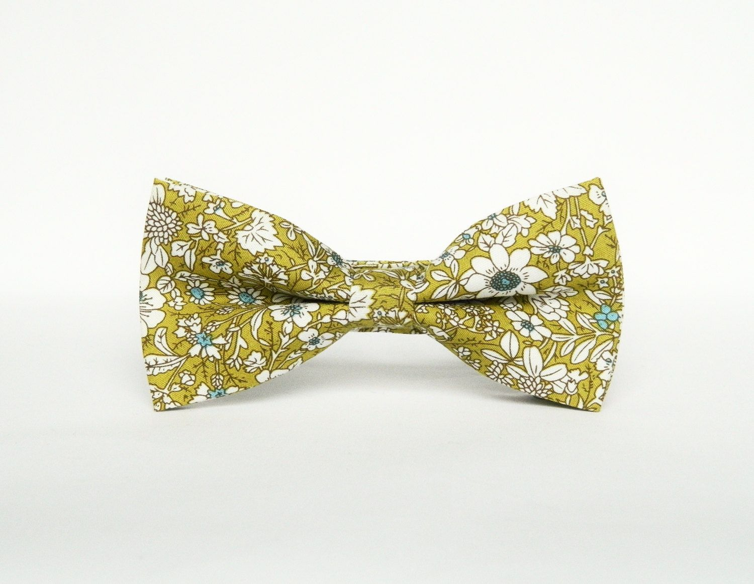 Men's floral lime green bow tie Pretied floral bow tie