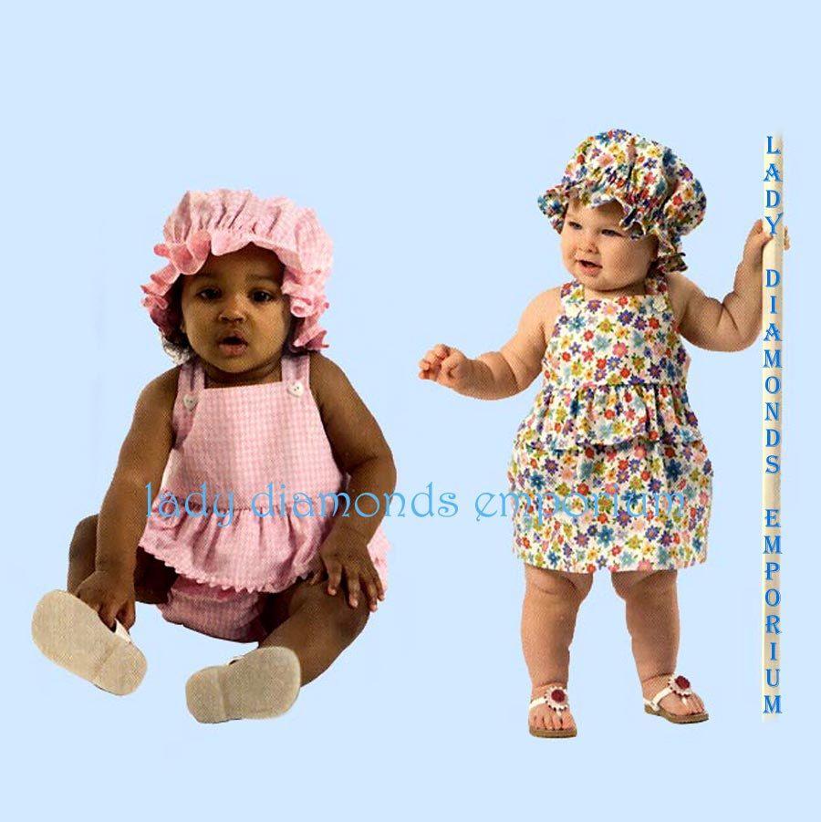3753ca0adb40 Butterick 4763 Babys Dress Panties Romper Snap Crotch Hat Prairie Bonnet  Childs size NB S M L Easy Sewing Pattern B4763 Uncut FF by ladydiamond46 on  Etsy