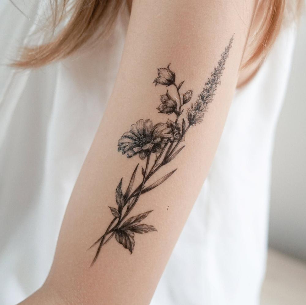 Minimal Flower tattoo Floral Tattoo Tatouage Temporaire Mini Lavender Flower Temporary Tattoo Sticker Chrysanthemum Daisy Red Poppies tattoo