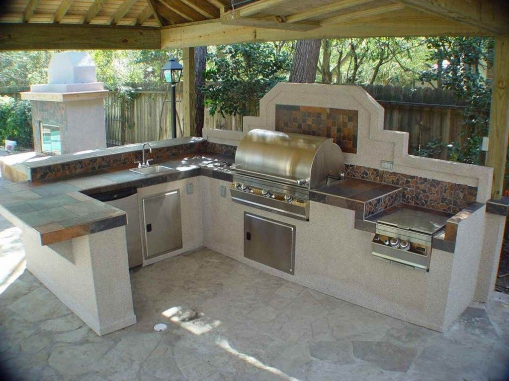 Extraordinary Outdoor Stainless Steel Kitchen Cabinet Design Inspiration In  Outdoor U-Shaped Kitchen Decor Layout Features Light Wood Pergola And  Ceramic ...