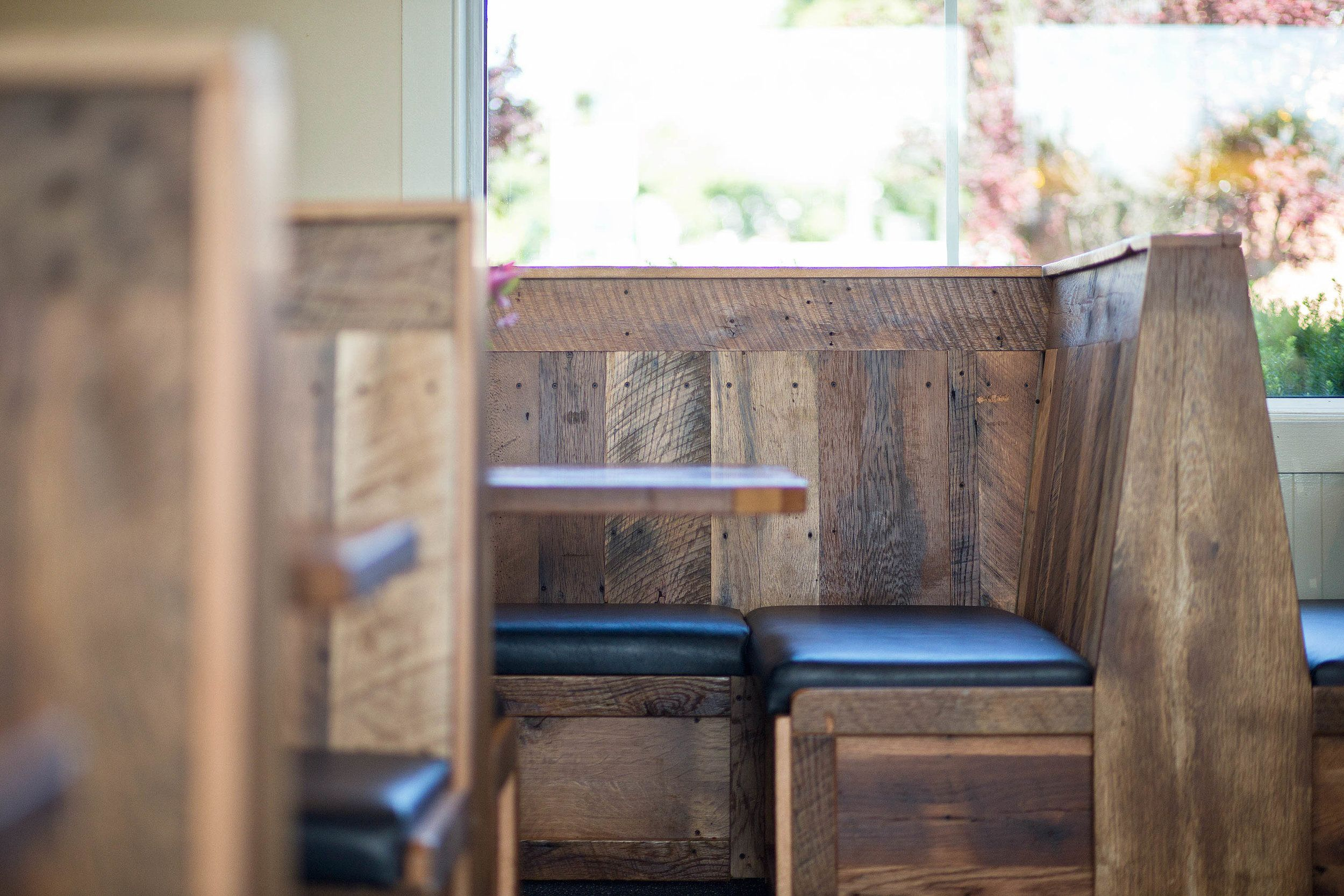 The Custom Built Booths Are Made From Reclaimed Barn Wood Out Of Ohio And Pennsylvania
