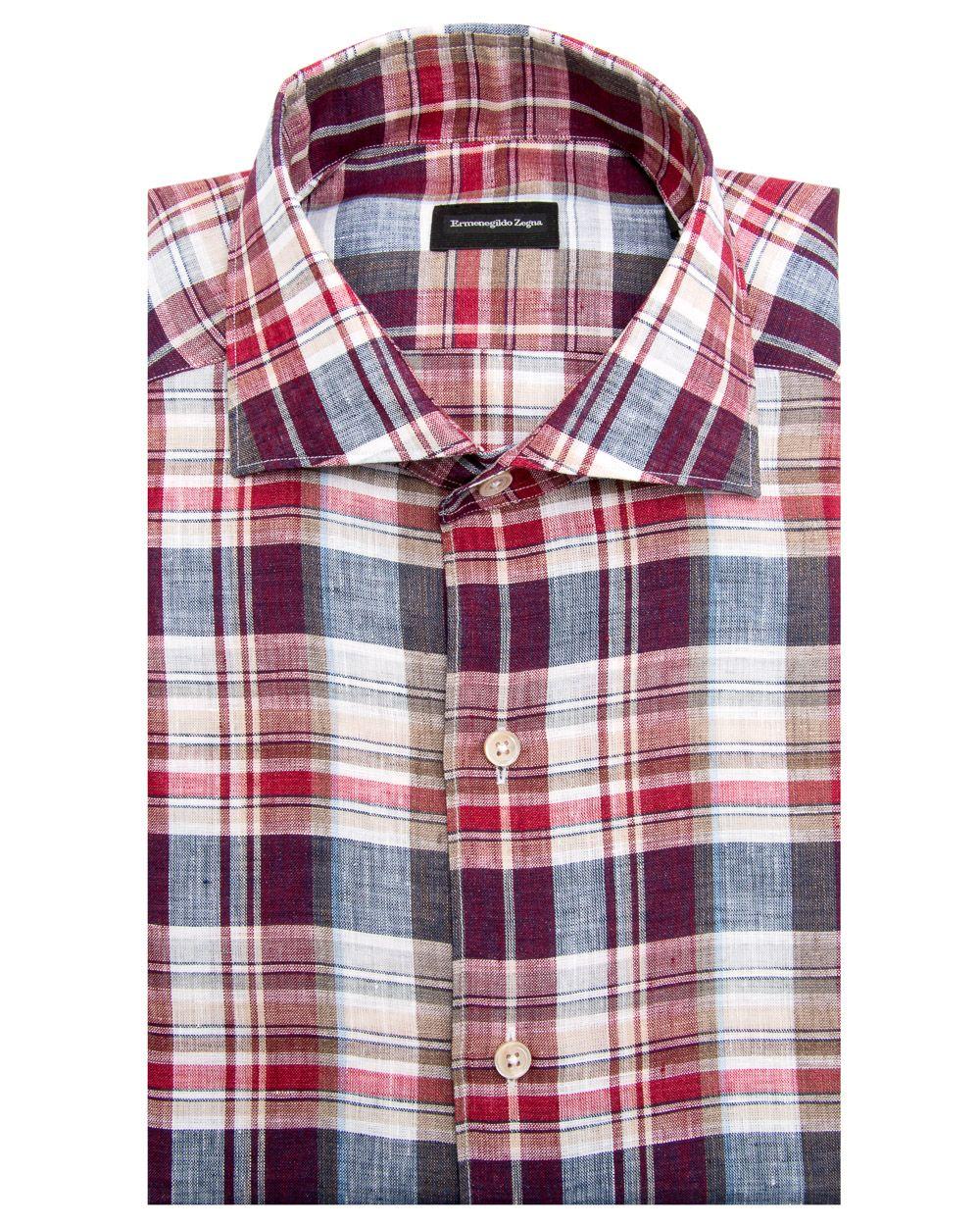 Ermenegildo Zegna Wine And Tan Bold Plaid Dress Shirt 680 Shirts