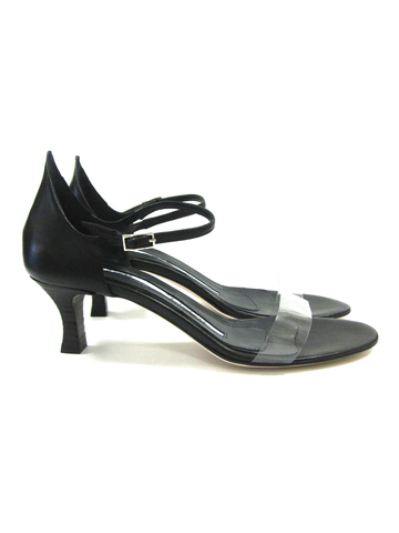715f80faeb84 Black leather kitten heel sandal with buckle closure at the ankle and clear  plastic vamp. 2
