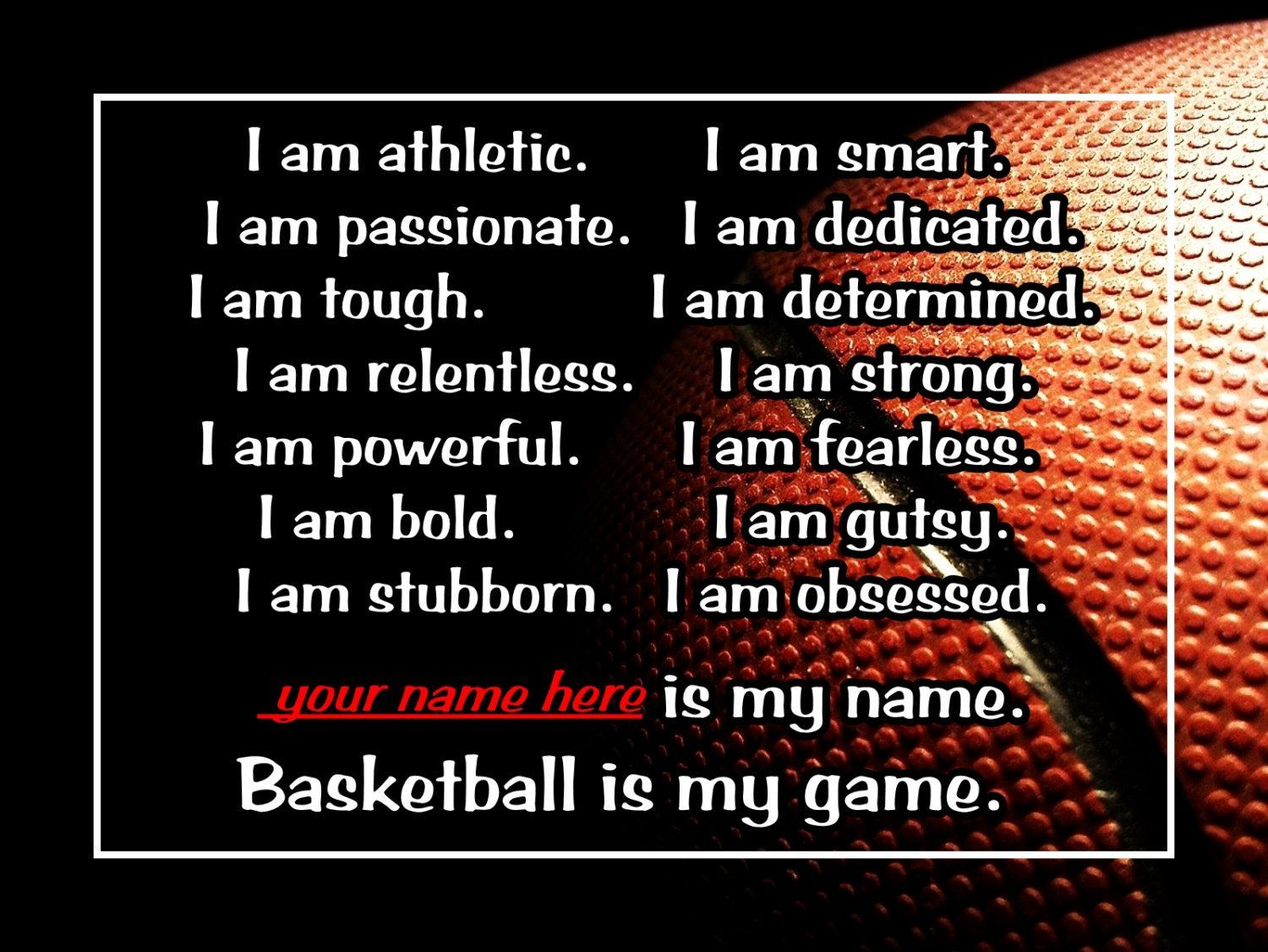 Basketball is my game quote personalized poster wall art